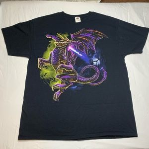 PURPLE FIRE GIANT BREATHING DRAGON 90s T-Shirt XL.